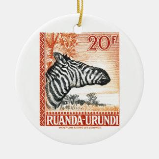 1942年のRuanda Urundiのシマウマの切手 セラミックオーナメント