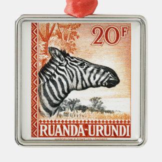 1942年のRuanda Urundiのシマウマの切手 メタルオーナメント