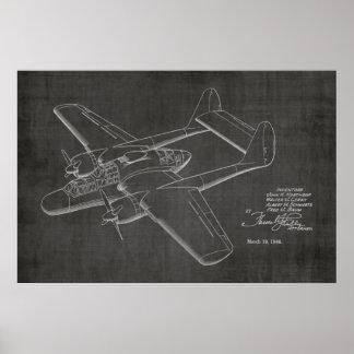 1946対の飛行機のパテントの芸術のスケッチのプリント ポスター