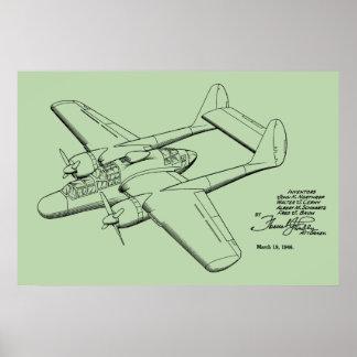 1946年のヴィンテージの飛行機のパテントのスケッチの芸術のプリント ポスター