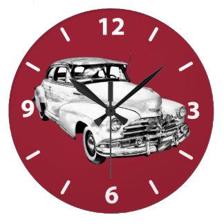 1948年のシボレーFleetmaster車の絵 ラージ壁時計