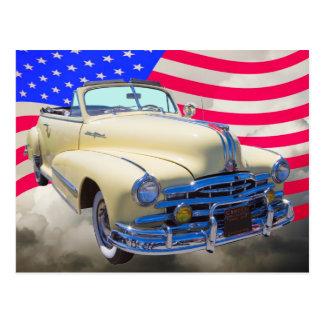 1948年のポンティアクの米国の銀製の縞および旗 ポストカード