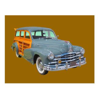 1948年のポンティアクの銀製の縞のWoodyのクラシックカー ポストカード