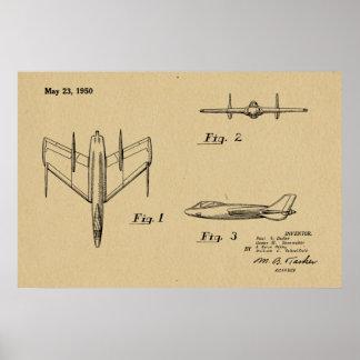 1950台のジェット機の飛行機のパテントのスケッチの芸術のプリント ポスター