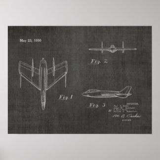 1950台のジェット機の飛行機のパテントの芸術のスケッチのプリント ポスター