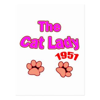 1951年の猫の女性 はがき