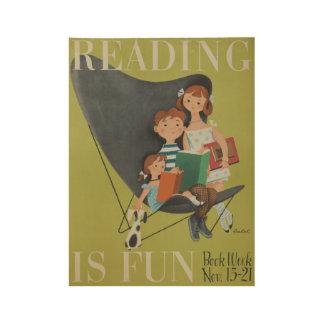 1953人の児童読書週間木ポスター ウッドポスター