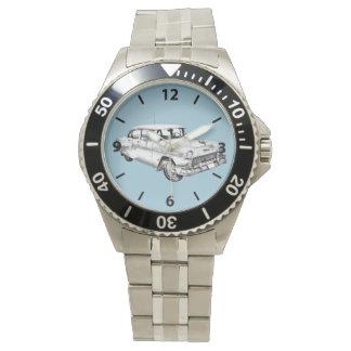 1955年のシボレーBel Airのクラシックカーの絵 腕時計