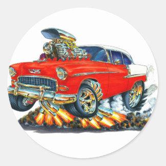 1955年のChevy Belairの赤車 ラウンドシール
