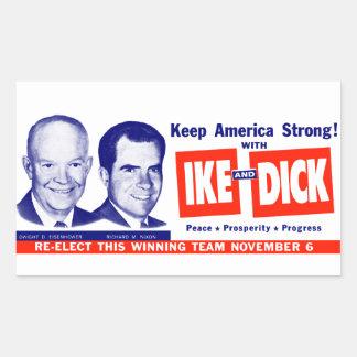 1956投票Ikeおよびディック 長方形シール