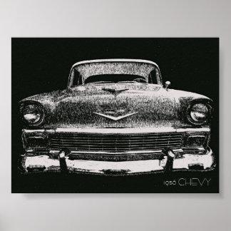 1956 CHEVYのスケッチ ポスター