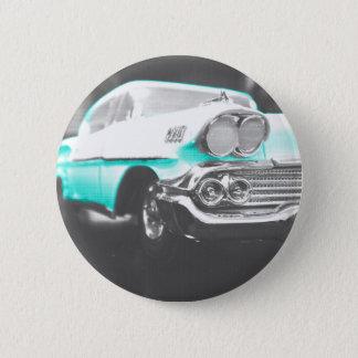 1958 chevyインパラの明るく青くクラシックな車 5.7cm 丸型バッジ