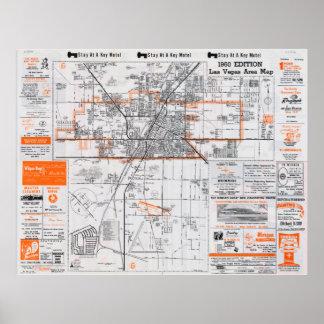 1960年のラスベガス区域の地図 ポスター