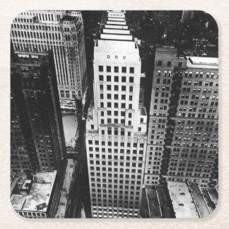 1960年:  シカゴの超高層ビルの空中写真 スクエアペーパーコースター