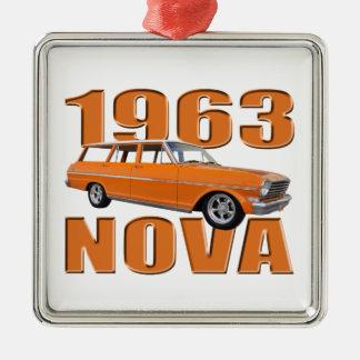 1963オレンジのchevy II新星のlongroofワゴン メタルオーナメント