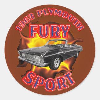 1963年のプリマスの激怒のスポーツのステッカー ラウンドシール