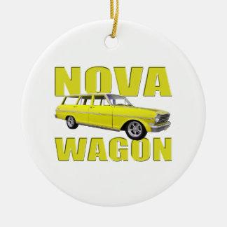 1963年の新星chevy IIワゴン黄色 セラミックオーナメント