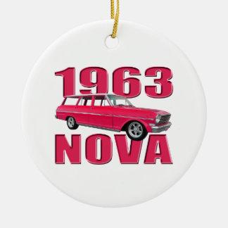 1963 chevy II新星ワゴン赤 セラミックオーナメント