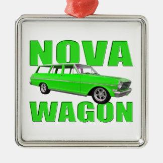 1963 chevy II新星ワゴンlongroofのネオンの緑 メタルオーナメント