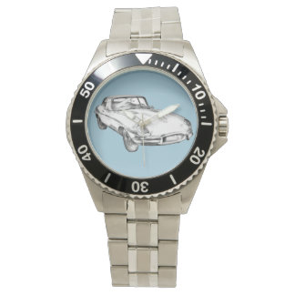 1964年のジャガーXKEの旧式なスポーツ・カーの絵 腕時計