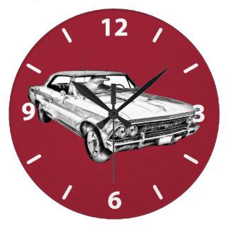 1966年のChevy Chevelle SS 396の絵 ラージ壁時計