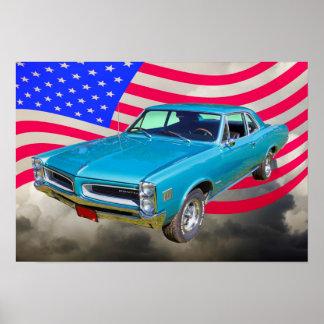 1966年ポンティアクルマンおよび米国旗 ポスター