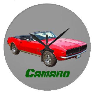 1967赤く変換可能なCamaro筋肉車 ラージ壁時計