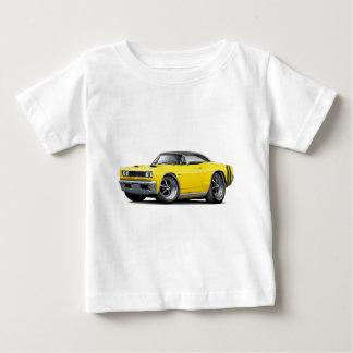 1968年のCoronet RTの黄色黒い上の二重フードのスコップ ベビーTシャツ