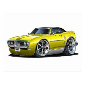 1968年のFirebirdの黄色黒い車 ポストカード