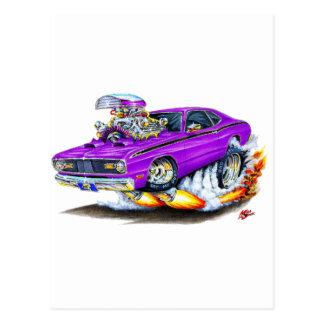 1970-74年のプリマスの塵払いの紫色車 ポストカード