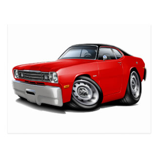 1970-74年の塵払いの赤黒い上車 ポストカード