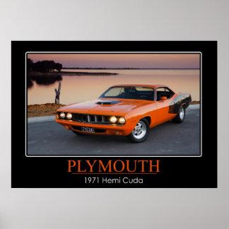 1971年のプリマスHemi Cuda -筋肉車 ポスター