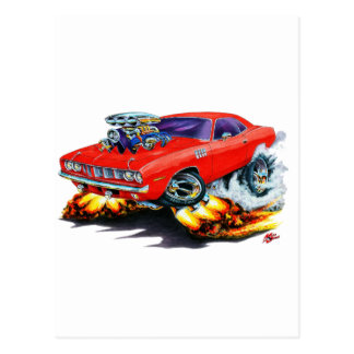 1971-73年のCudaの赤車 ポストカード