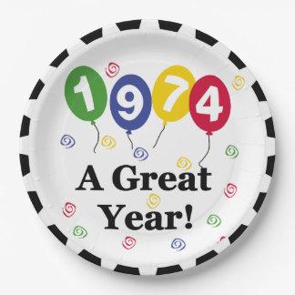 1974年のすばらしい年の誕生日の紙皿 ペーパープレート