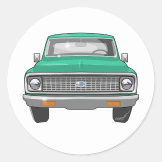 1974緑のChevyのトラック ラウンドシール