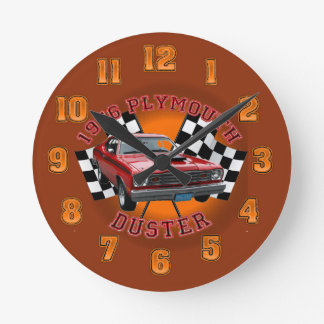 1976年のプリマスの塵払いの柱時計 ラウンド壁時計