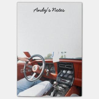 1981年のコルベット車のインテリアが付いているメモ帳 ポストイット