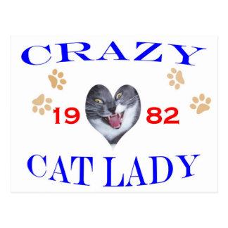 1982年の熱狂するな猫の女性 ポストカード