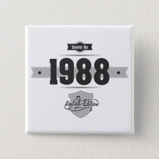 1988年に生まれて下さい(Dark&Lightgrey) 5.1cm 正方形バッジ