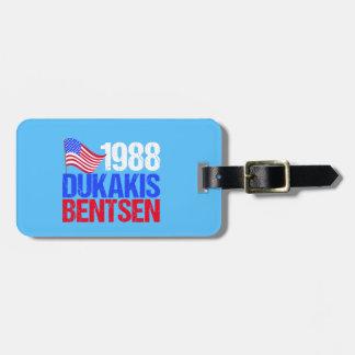 1988年のDukakis Bentsenのレトロの選挙 ラゲッジタグ
