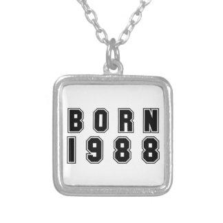 1988黒いフォントを生まれて下さい シルバープレートネックレス