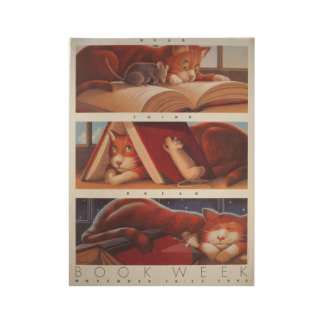 1992人の児童読書週間木ポスター ウッドポスター
