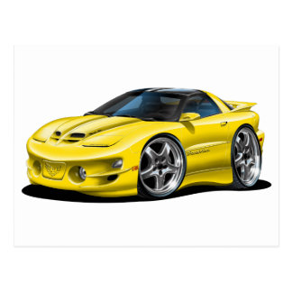 1998-02年のTRANS AMの黄色い車 ポストカード