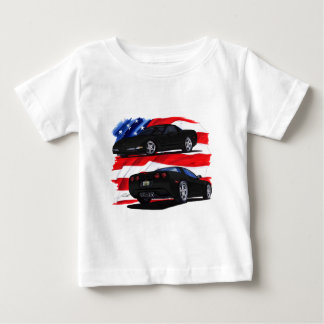 1998-04年のコルベットの黒い車 ベビーTシャツ