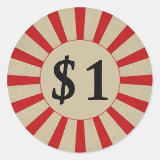 $1 (ドル)円形の光沢のある値段 ラウンドシール
