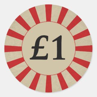 £1 (ポンド)円形の光沢のあるステッカー ラウンドシール