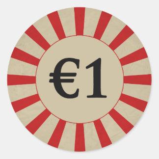 €1 (ポンド)円形の光沢のある値段 ラウンドシール