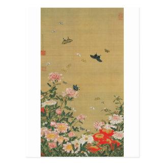 1. 芍薬群蝶図、若冲の花および蝶、Jakuchu ポストカード