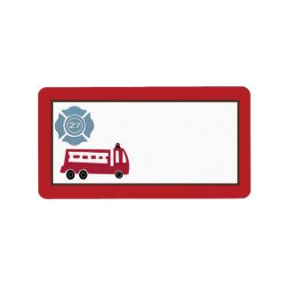 """1.25の"""" x2.75""""郵送物の住所Nojoの消防車 ラベル"""