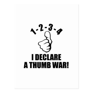 1-2-3-4私は親指戦争B-Wを宣言します ポストカード